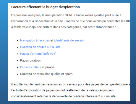 Facteurs affectant le budget d'exploration