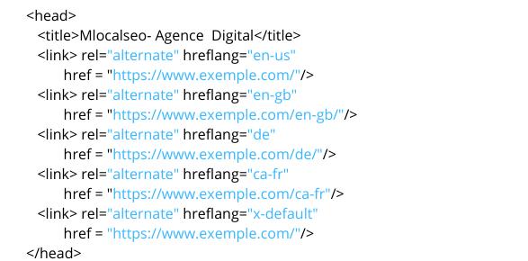 Hreflang dans la page