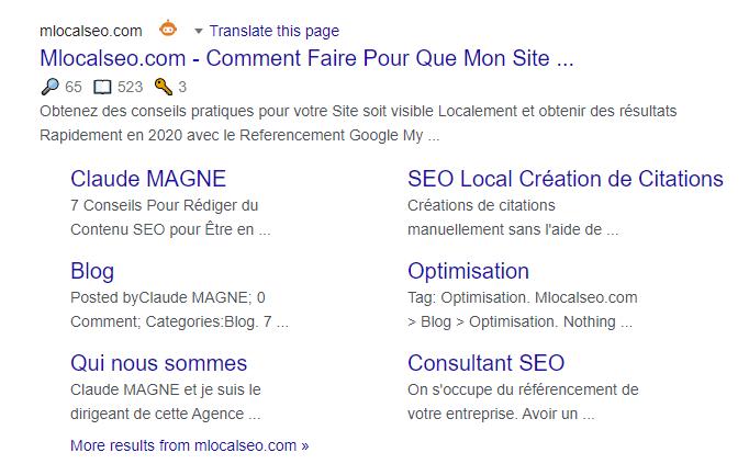 Optimiser pour les Sitelinks