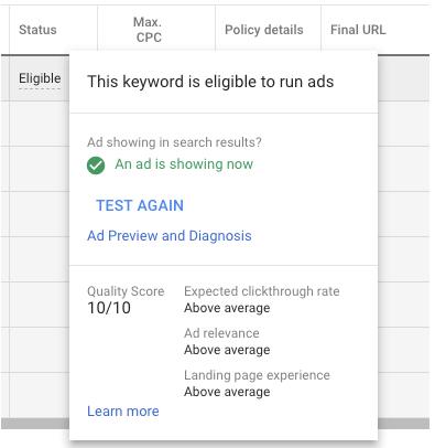 Que signifient les chiffres du Quality Score et comment puis-je m'améliorer ?