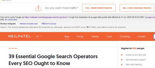 Opérateur de recherche Google