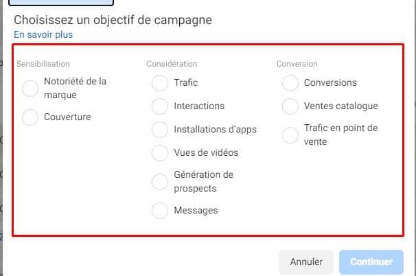 Objectifs du Facebook Ads